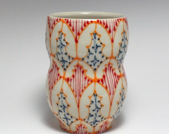 Ceramic Tumbler - Juice Cup, Yunomi - Handmade with Orange, Red and Navy Pattern