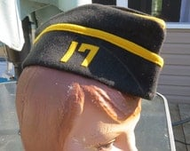 Vintage Black and Yellow Military Garrison Felt Hat with 17 on it