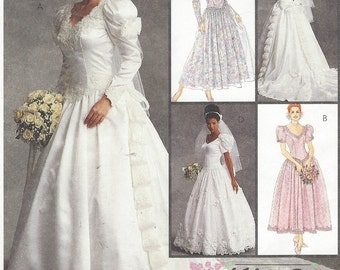 90s Alicyn Exclusives Womens Wedding Gown Detachable Train McCalls Sewing Pattern 6334 Size 14 16 18 Bust 36 38 40 UnCut Bridesmaid Dresses
