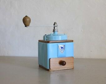French Vintage Peugeot Coffee Mill Grinder Sky Blue Enamel 1940s Burr Grinder Fully Restored