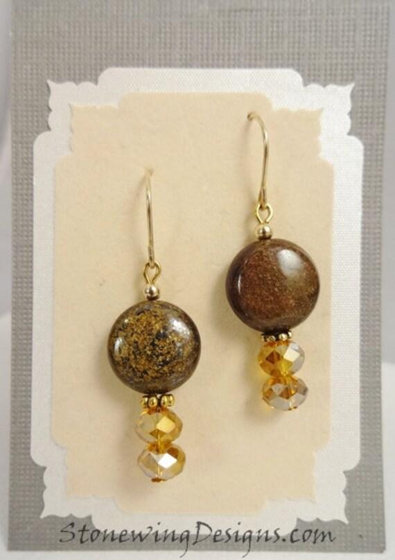 Bronzite Earrings, Bronzite and Crystal Earrings, Brown Earrings, Brown Jewelry, Rustic Brown Stone, Boho Earrings