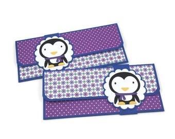 Christmas cash envelope, holiday card, Christmas money holder, cash envelope system, budgeting envelope, penguin birthday card,
