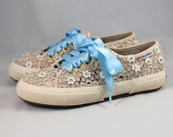 Wedding  Tennis shoes --  Swarovski Crystal Superga - Bridal Superga with ribbon laces