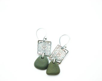 Pebble Earrings Silver Dangle Artisan Made River Rock Jewelry Beach Stone Rustic Earthy Eco Friendly Natural Stone
