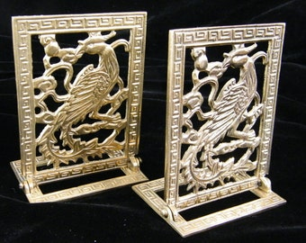 Bookends | Solid Brass Peacock | Vintage Home Accent | Light Weight Decorative Accent