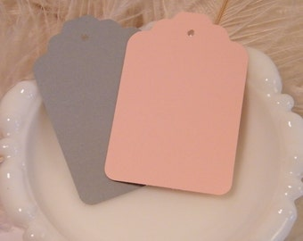 Gift Tags 100 / Escort Cards / Hang tags / Blank /  Gray and Blush / Wedding Wish Tree Cards / Placecards