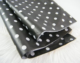 Black and White Tissue sheets / Tissue Paper | White Polka Dots on Black Tissue | Party Supplies | Paper Crafts | Gift Wrap | 12 sheets