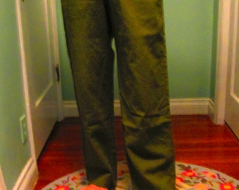 Vintage 1950s US Army Wool Pants  / Military Surplus Field Trousers Olive Green Unisex