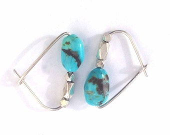 Natural Turquoise Earring Hoops are Robins Egg Blue Stones,