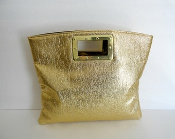 VINTAGE WEDDING TOTE|Vintage 1960's Gold Lame Tote Clutch Purse|Gold Tri Fold Clutch Tote bag|Vintage Gold Top handle Purse Lame Evening Bag