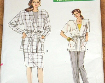 Vogue 7108 Blouson Jacket Skirt Tapered Pants Womens Misses Vintage 1980s Easy Sewing Pattern Size 8 10 12 Bust 31 32 34 Uncut Factory Folds