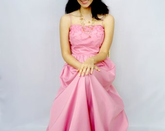 Long Pink Dress - Vintage 70s - Pink Dress - Prom