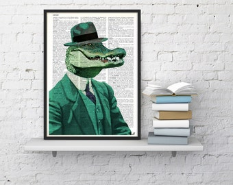 Summer Sale Chic Crocodile  Wall decor, Unique Gift Crocodile with green suit wall hanging Poster Print art fun poster wall ANI172