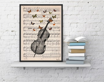 Summer Sale Cello with butterflies Art print on Music sheet, Cello with butterflies, Wall decor art prints, Music art Home BFL083MSL