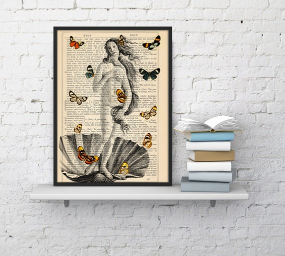 Summer Sale Venus and Butterflies collage print butterflies Butterflies and Venus poster Print Wall art bathroom print Decor BFL107