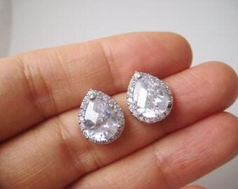 Clear Cubic Zirconia Teardrop Stud Earrings White Gold Earrings Bridal Stud Earrings Wedding Jewelry Bridesmaid Gift
