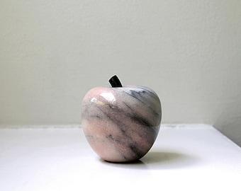 Vintage Marble Apple Modern Stone Paperweight Objet Figurine