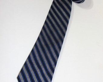 """vintage 1960's -Superba- Narrow neck tie. Cotton. Diagonal stripes...Black, Blue and White. 2 1/2"""" Wide"""