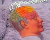 Phrenology Head Necklace - Human Brain Charm Necklace
