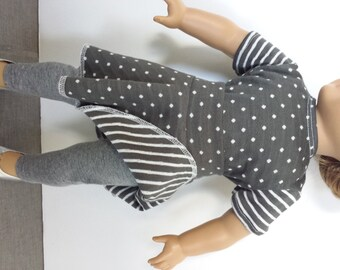 18 Inch Doll Clothes,  3 Pieces, T-Shirt, Skirt, Leggings, 3 Piece Set, Grey Dots and Stripes