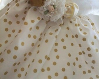 Baby girl Ivory Dress Gold Polka dot with matching hairband