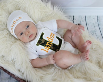 Baby shower gift boy monogrammed baby boy clothes camo baby personalized baby boy clothes monogram baby boy camo hunters camo bodysuit with personalized beanie hat option negle Image collections
