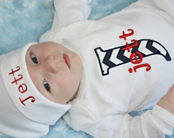 Personalized Baby Boy Clothes Newborn Boy Take Home Outfit Chevron Monogram boy bodysuit and Personalized Beanie