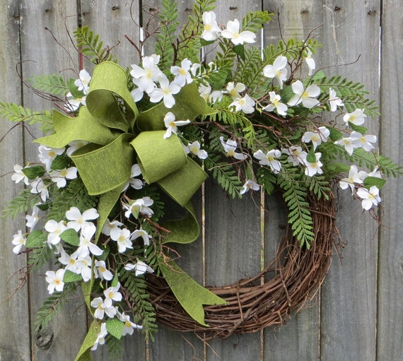 Spring Wreaths, Spring Wreath, Dogwood, Fern and Linen Bow for Early Spring / Year Round