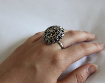 silver filigree adjustable ring