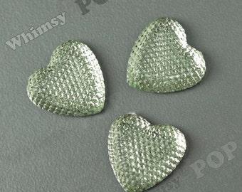 Kawaii Seafoam Green Ice Dazzling Heart Resin Flatback Deco Cabochons, Heart Cabochons, Sparkle Hearts, 24mm (R8-263)