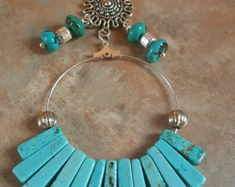 Beautiful Boho Necklace With Blue Howlite Fan Stones/Sun Pendant