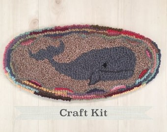 OVAL WHALE - Complete Primitive Beginner Rug Hooking Kit in Gift Box on Your Choice of Foundation