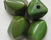 Vintage Bakelite Carved Beads Creamed Spinach 22x16mm QTY - 4