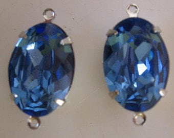 Vintage Swarovski Sapphire oval 16x11mm Rhinestones prong set in Silver Settings with 21x11 Double Ring Pendant Settings QTY - 2
