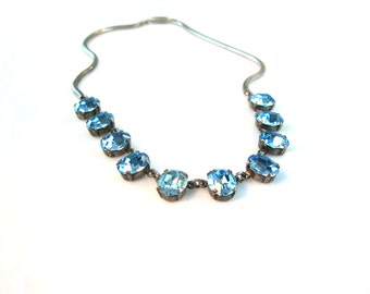 Aqua Crystal Necklace. Silver Snake Chain Choker. Old Hollywood Style. Blue Rhinestone Jewelry. Vintage Sterling 1940's Wedding Jewelry