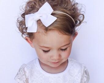 White Baby Headband - White Bow Headband - White Bow - White Sailor Bow - White Bow Clip - White Fabric Bow Headband - Nylon Headband