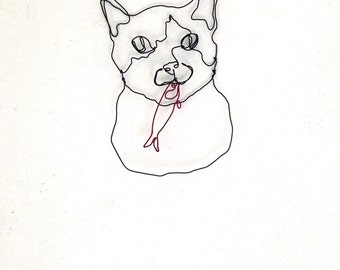 Wire wall art, Tuxedo Cat Face sculpture, Cat and fish, home decor