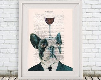 Bulldog Print: Art Poster Digital Art Original Illustration Giclee Print Wall Hanging Wall Decor Animal Painting,Bulldog with wineglass