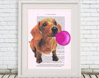 Daschund with bubblegum Acrylic paintings Original Prints Drawing Giclee Posters digital Mixed Media Art Holiday Decor Gifts illustration