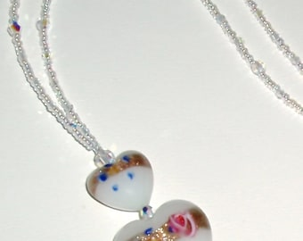 SALE - Charming White Murano Fiorato Heart and Crystal Necklace