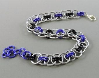 Purple & Black Chainmail Bracelet, Chainmaille Bracelet, Helm Weave Chain Mail Jewelry, Helm Bracelet, Purple Jewelry