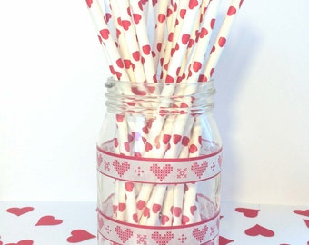 Red Heart Straws - Valentine's Day Queen of Hearts Party - Pack of 25