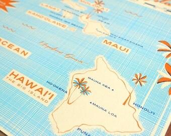 Hawaiian Islands - 24x18 Screen Printed Map