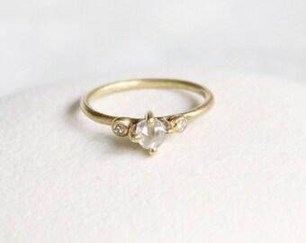 Claw Set 0.5ct White Rough Diamond 18ct Yellow Gold, uncut diamond ring, diamond crystal ring, raw diamond ring, alternative wedding ring