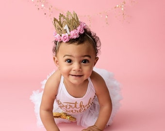 Birthday Lace Crown ||MINI Sienna crown gold||medium pink flowers lace crown headband || customize ANY AGE