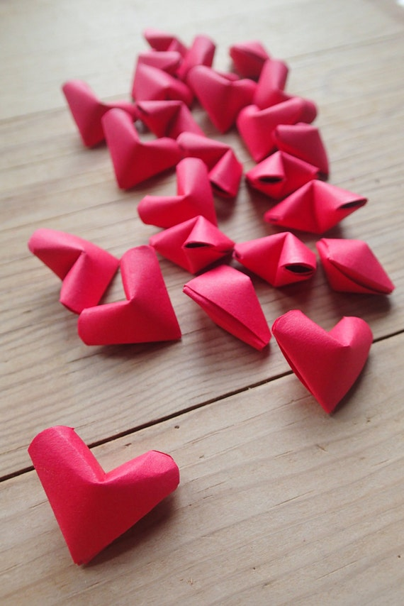 Red Origami Hearts, set of 24.