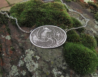 Fox Necklace - Fern Necklace - Silver Necklace - Etched Necklace