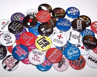 """Ice Hockey Pins (10 Pack), Hockey Team Party Favors, 1"""" or 1.5"""" or 2.25"""" Pin Back Buttons or Magnets, Hockey Skater, Hockey Player Gift"""