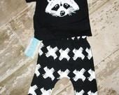 RACCOON outfit for toddlers infants baby, harem pants + shirt, photography prop, unisex outfit boys girls