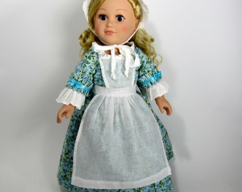 18 inch Doll Clothes Dress Up Colonial Historic 18th Century Costume AG Dolls in Green Calico with Chemise, Petticoat and Pinafore Apron